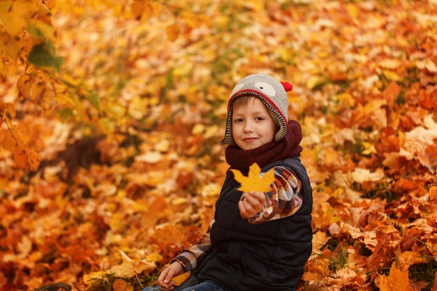 かわいい男の子不気味な帽子と公園で黄金の秋に暖かいスカーフ。