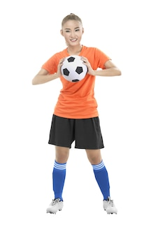 サッカーボールを保持している女性