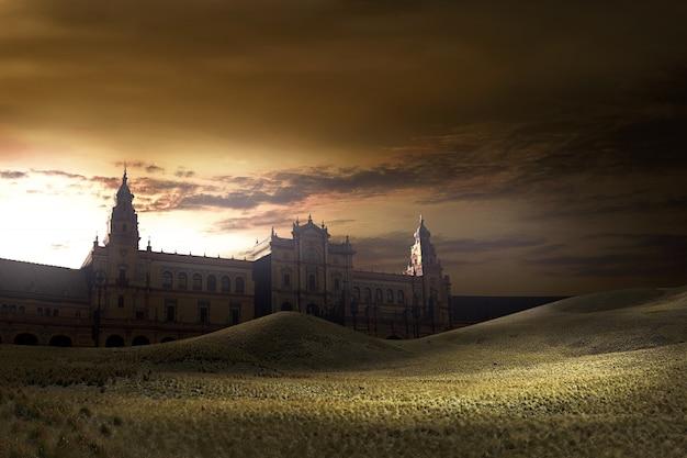 夕暮れの景色を背景に古い建物