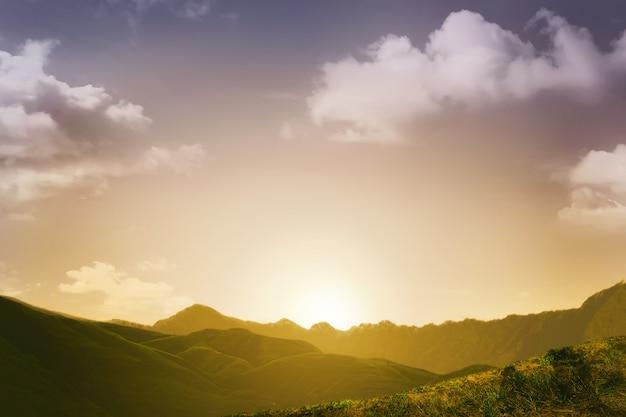 山の背景と夕景