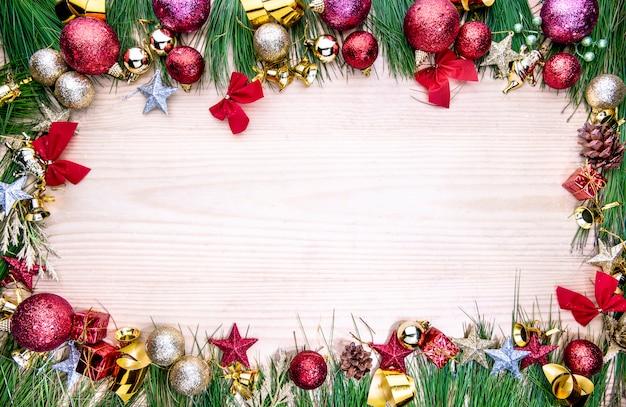 クリスマスの飾りやフレームの背景の装飾