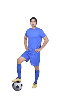 Портрет азиатского футболиста с мячом