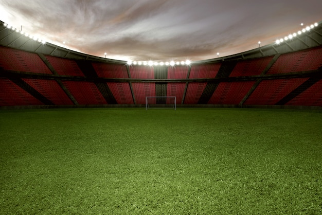 緑の芝生と空のトリビューンスタジアムサッカー
