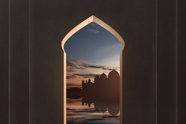 モスクのシルエットの窓からの眺め