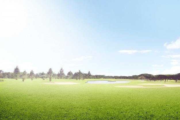 砂のバンカーと木々の美しいゴルフコース