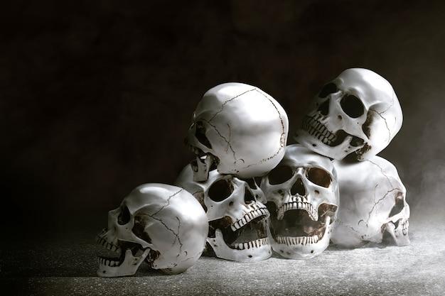 床に人間の頭蓋骨
