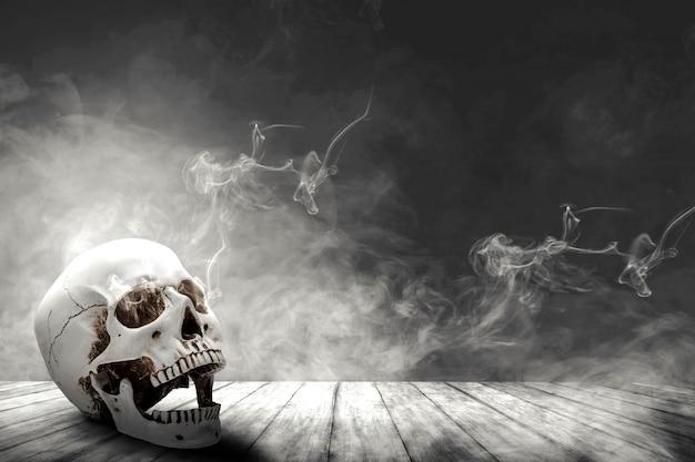 木製のテーブルに人間の頭蓋骨