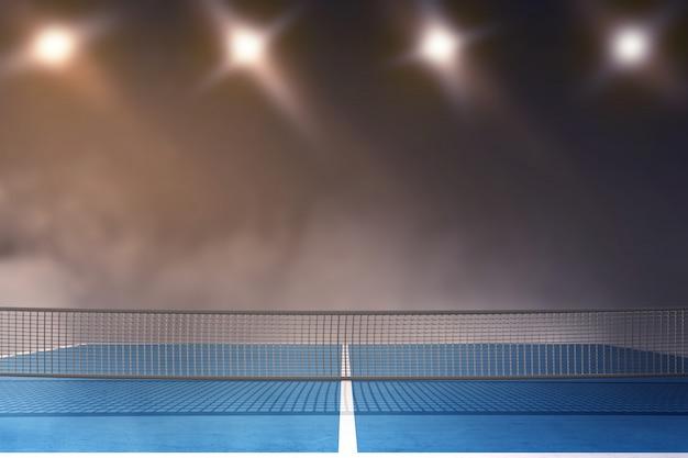 スポットライトからの光と卓球