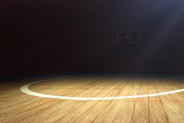 木製の床とバスケットボールフープ付きバスケットボールコート