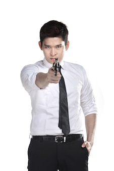 Портрет агента секрета с пистолетом