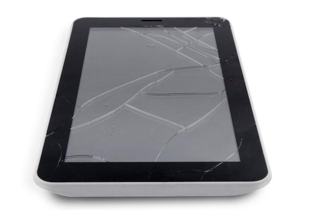 壊れたガラススクリーンのタブレット