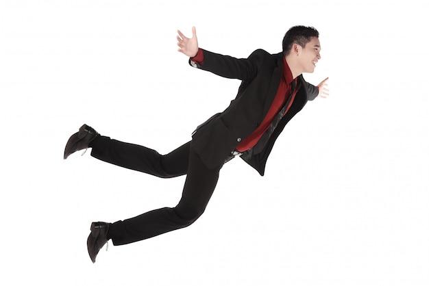 フォーマルな服装で落下と叫んでいるビジネスマン