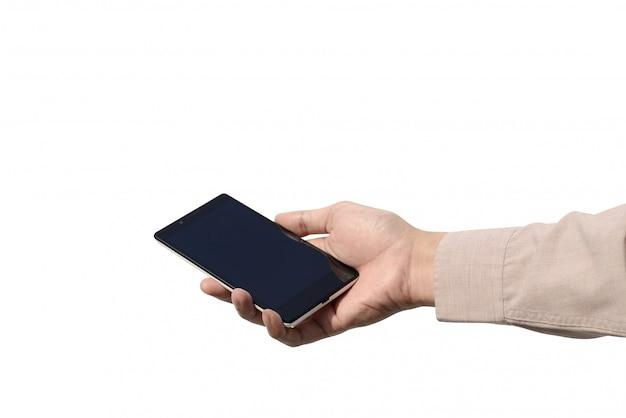 白い背景で隔離された空白の画面を持つ携帯電話を持つ手