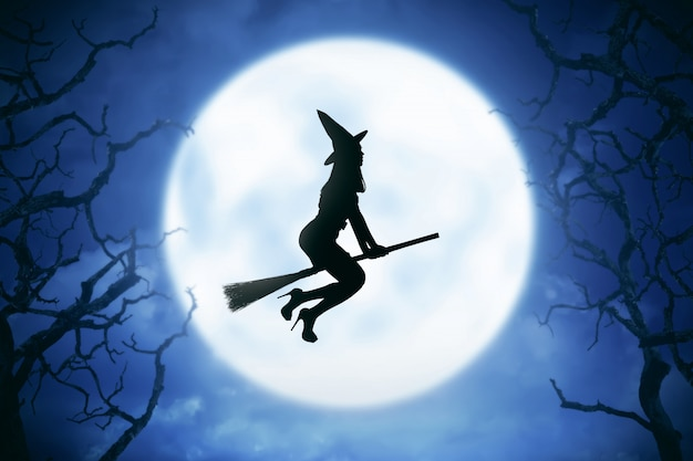 魔法のほうきに乗って魔女女性のシルエット
