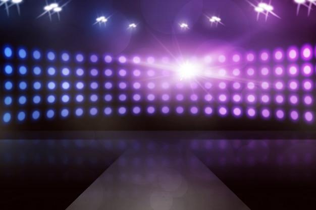 ランプが輝く空のステージ、あなたはそれにあなたのデザインを置くことができ