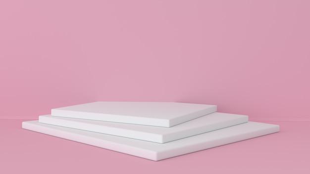 ピンクのスタジオと台座の背景。美容製品ディスプレイ用プラットフォーム。