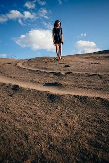 晴れた日に砂のブルネットの女性
