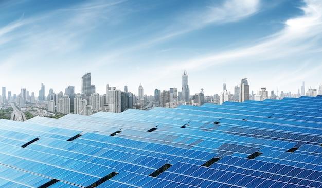 中国の上海の都市太陽電池パネル