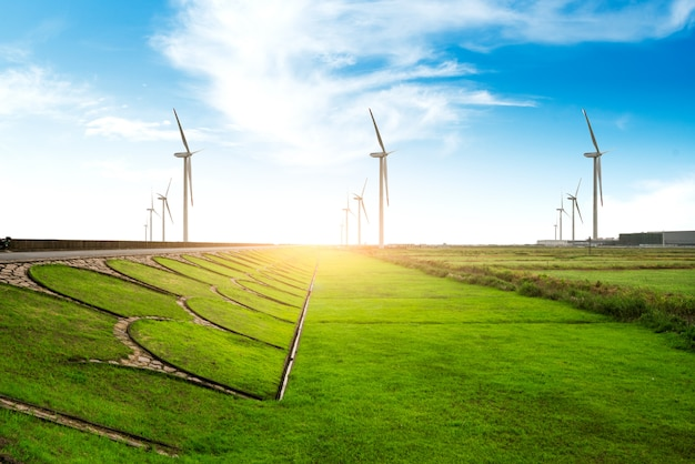 Поле травы, ветряная мельница и голубое небо.