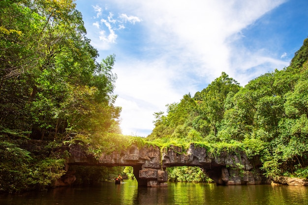 山の湖の風景。