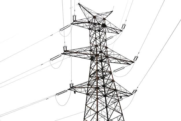 白い背景の上の電力線