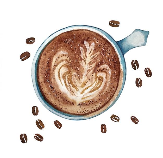 水彩の一杯のコーヒーカフェラテ、上面図。