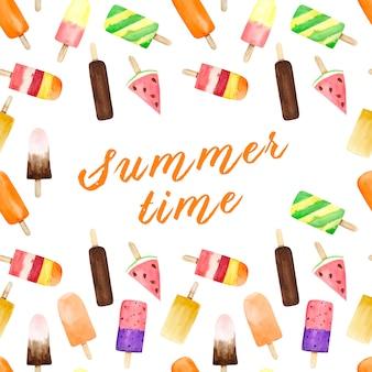 夏のテキストと白い背景の水彩画のアイスクリームとのシームレスなパターン。