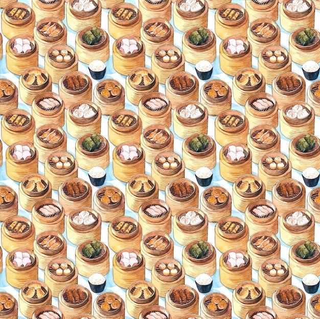 Картина акварели нарисованная рукой с бамбуковыми коробками с китайскими блюдами дим сум на ем