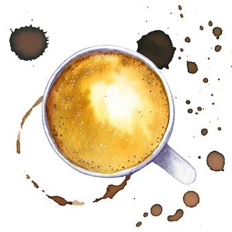 水彩の一杯のコーヒーカプチーノ、上面図。
