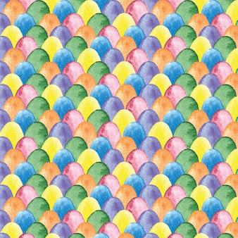 色とりどりの卵と水彩のイースターパターン