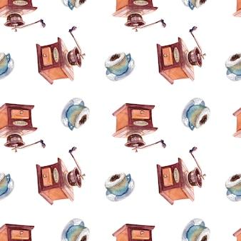 一杯のコーヒーとコーヒーグラインダーでシームレスな水彩画のパターン。