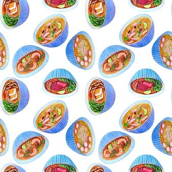 ベトナムのスープフォーとシームレスな水彩画のパターン。