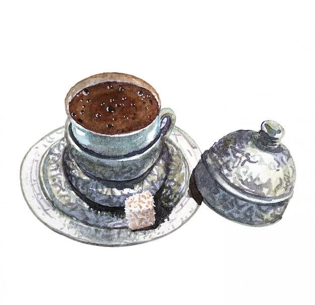 濃いトルコのコーヒーと銀の受け皿の水彩画のコップ。