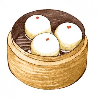 水彩のアジア料理点心