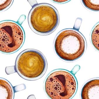 水彩のコーヒーカップのシームレスパターン、上面図。