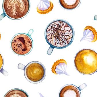 水彩コーヒーマキアートカップビスケットのシームレスパターン。