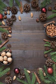 Рождественская граница с ингредиентом для выпечки с копией пространства