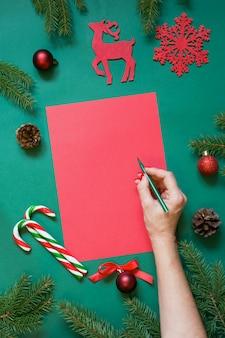 Рождество красный бланк для письма санте или ваш список желаний или приключений на зеленый.