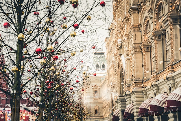 モスクワの赤の広場の新年