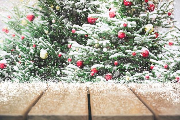 Рождественский праздник фон с пустой столешницей