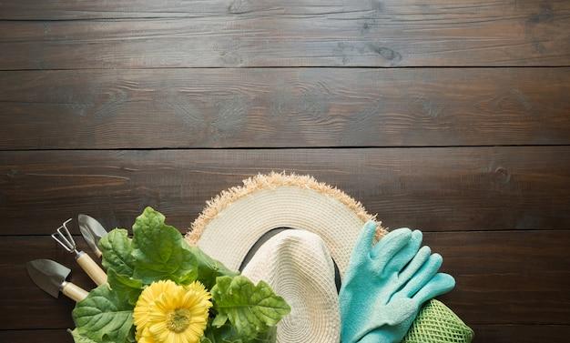 木の板の園芸工具、花、手袋および土。春は庭で働きます。