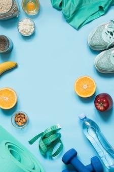 コンセプトフィットネスと健康的な適正栄養テキスト用のスペース
