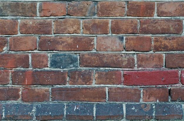 セメントの縫い目で素朴なヴィンテージ赤レンガの壁のクラッディング