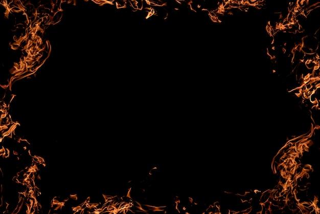 火の黒の背景。