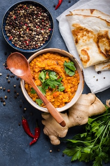 伝統的なインドのレンズ豆ダル