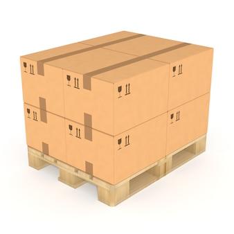 Стек коробки на поддоне.