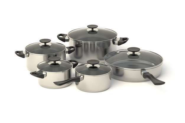 ステンレス製の鍋とフライパン
