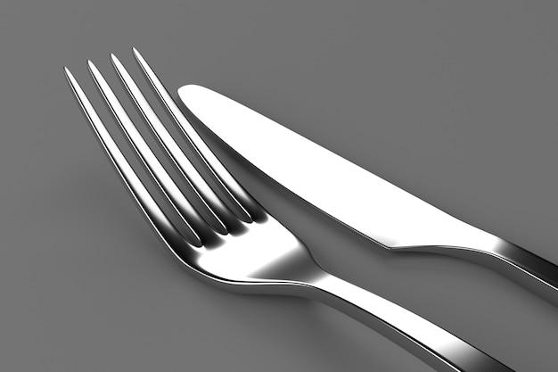 灰色のフォークとナイフ