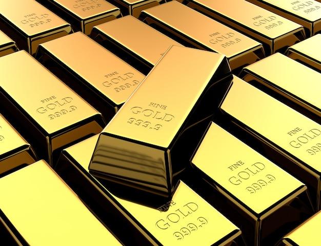 Блестящие золотые слитки