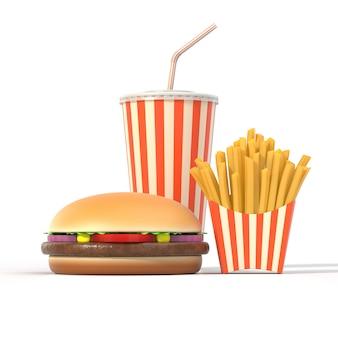Гамбургер, картофель фри и напитки